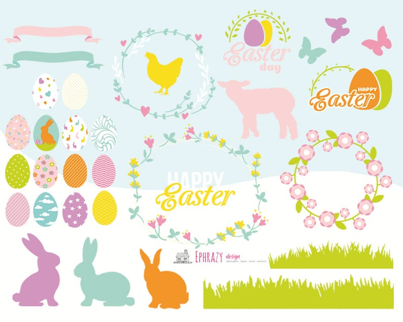 Easter clipart. Easter clip art. Spring clipart. Spring clip art. Easter  bunny clipart. Bunny clipart. Easter egg clipart. Easter.