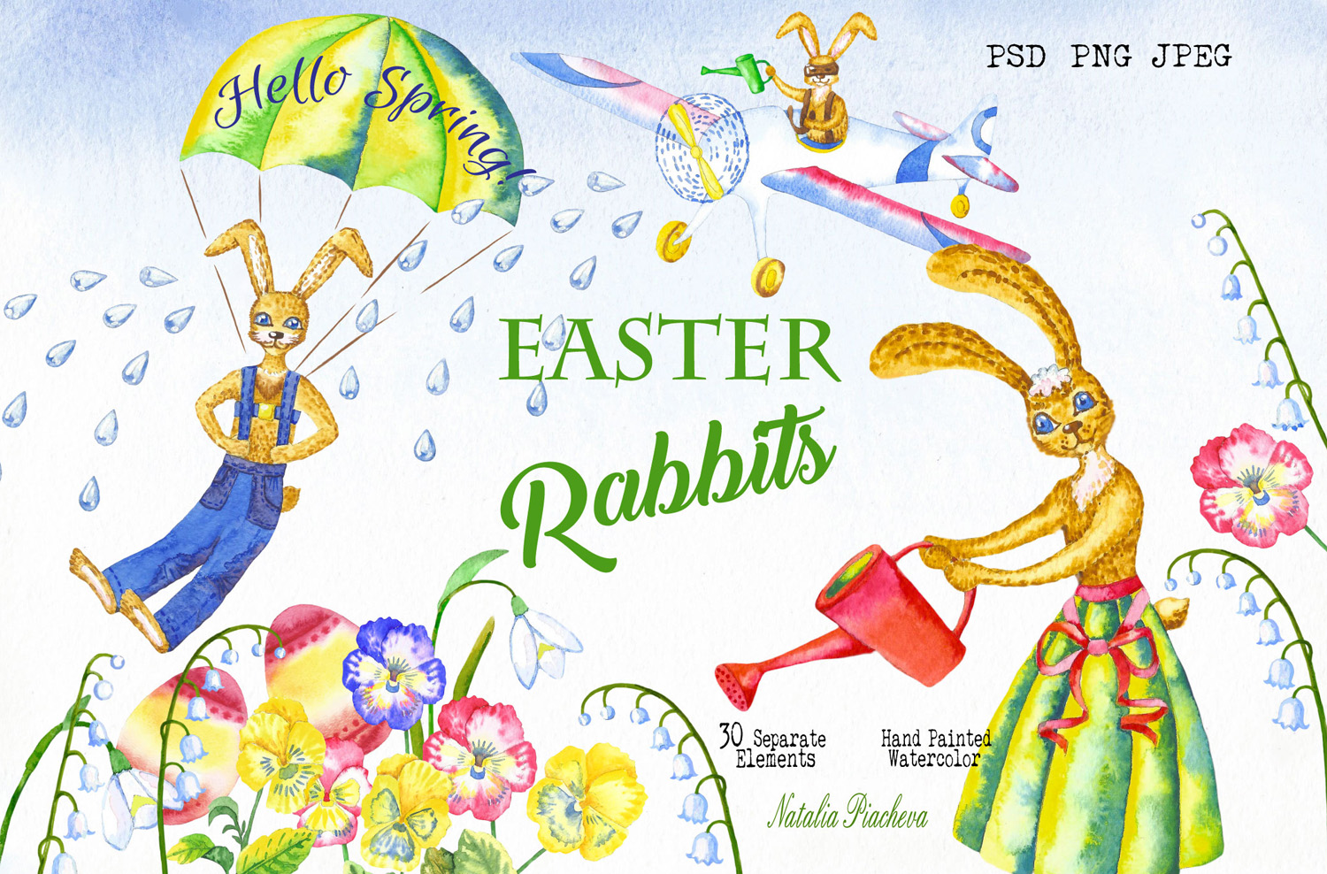 Easter Rabbits Spring Clipart.