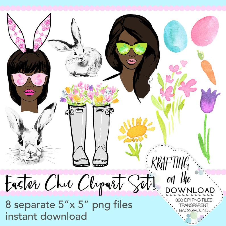 watercolor easter spring clipart png file watercolor floral clip art set  watercolor spring fashion clipart png files african american girl.