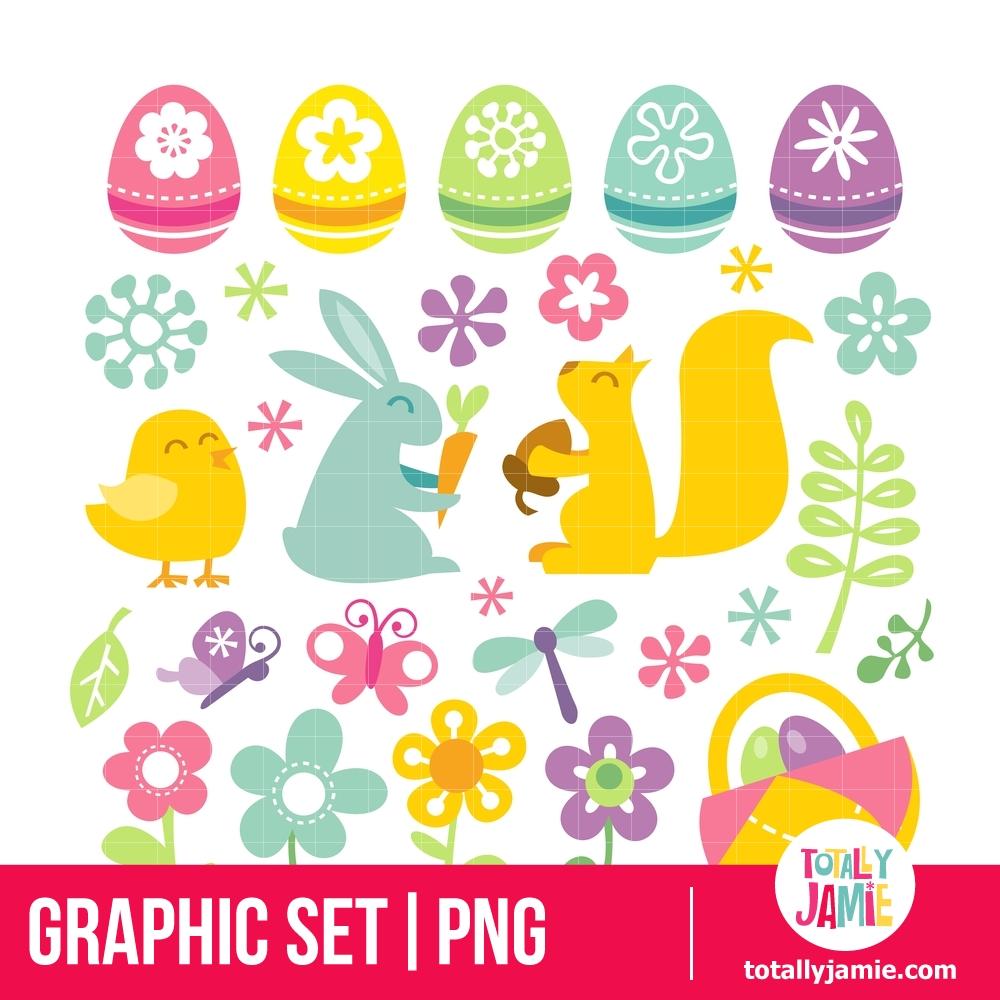 Happy Retro Easter Spring Clip Arts.