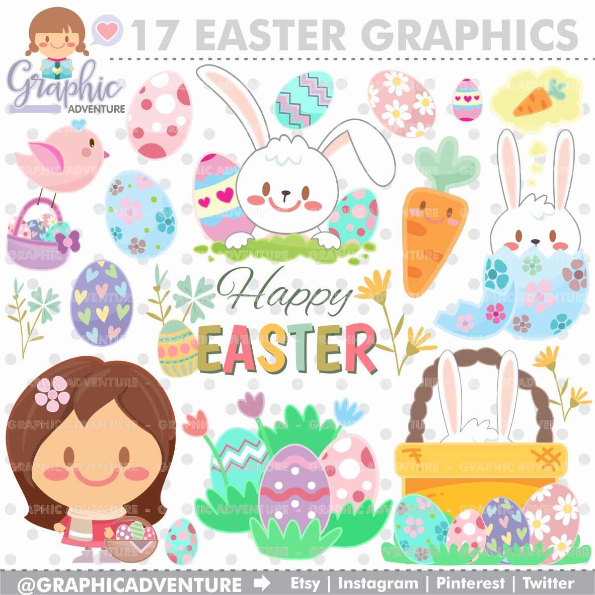 Easter Clipart, Easter Graphics, Clip Art, COMMERCIAL USE, Kawaii.