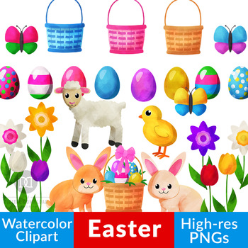 Watercolor Easter Clipart, Easter Bunny, Easter Eggs, Watercolor Spring  Clipart.