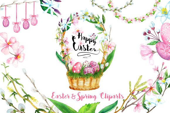 Watercolor Easter and Spring Clipart.