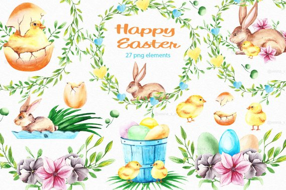 Easter clipart Easter watercolor clipart Bunny clipart Spring.