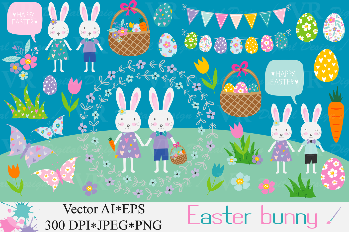 Easter bunny clipart / Easter rabbit, eggs graphics / Spring.