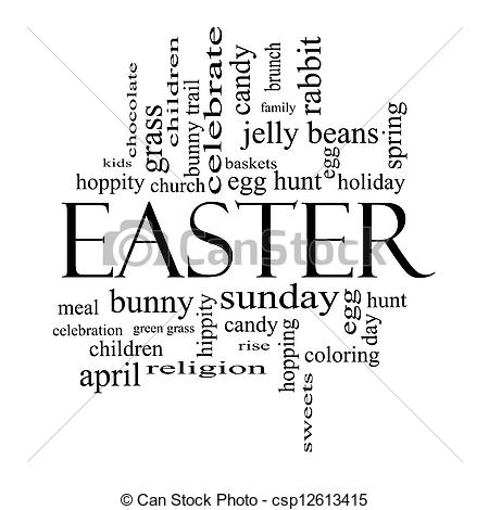 Easter sunday clipart black and white.