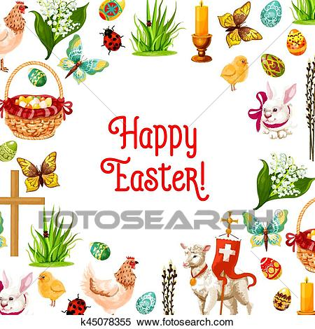 Easter symbols poster for greeting card design Clipart.