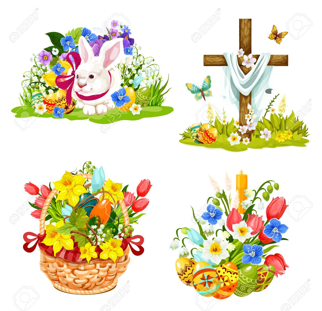 Easter symbols for Christianity holiday greeting cards. Vector...