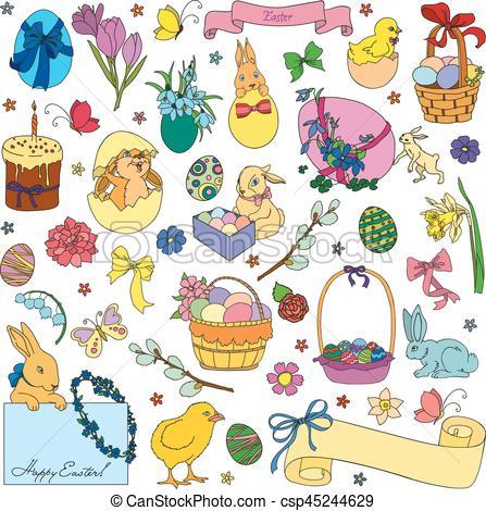 Vector set of Easter symbols.