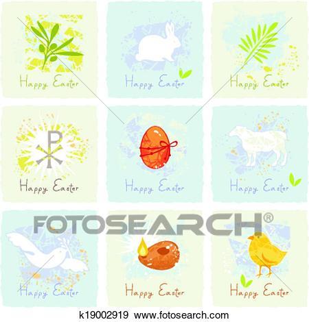 Easter Symbols Set Clip Art.
