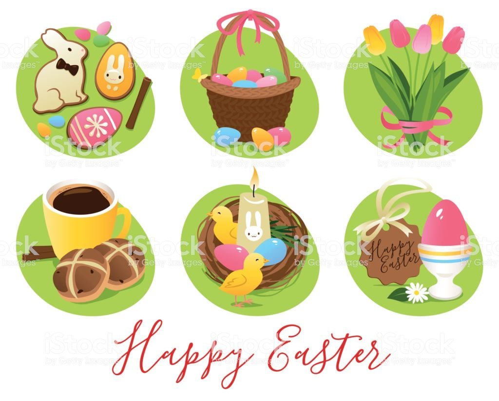 Easter Symbols And Treats Stock Illustration.