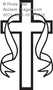 Easter Symbol of a Christian Cross With Ribbon.