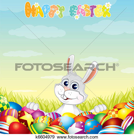 Clip Art of Happy Easter Theme k6604979.