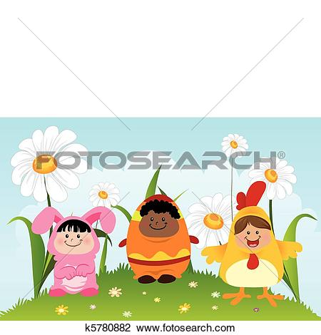 Clipart of Fun Children Wearing Easter Theme Costumes k5780882.