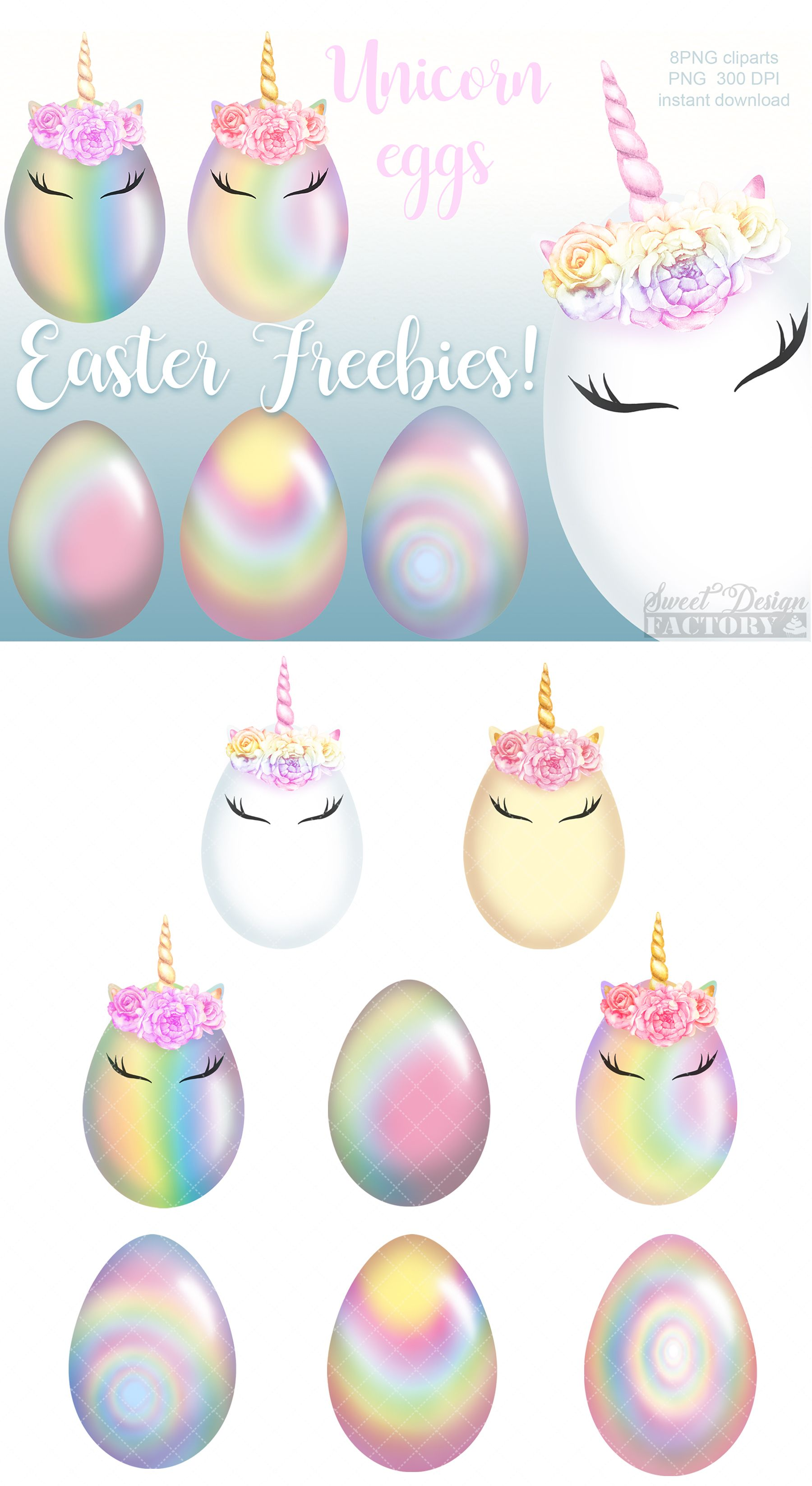 EASTER FREBBIES! 8 png files, easter eggs clipart, rainbow.