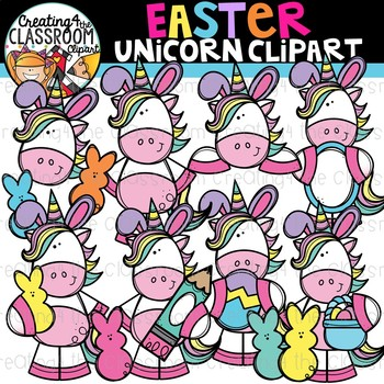 Easter Unicorns Clipart {Easter Clipart}.
