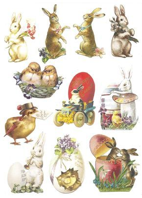 Free printable vintage Easter clipart.