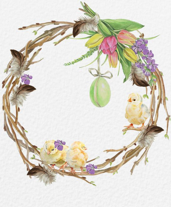 Watercolor Easter/Watercolor Easter clipart/Watercolor.