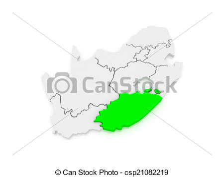 Clipart of Map of Eastern Cape (Bisho). South Africa. 3d.