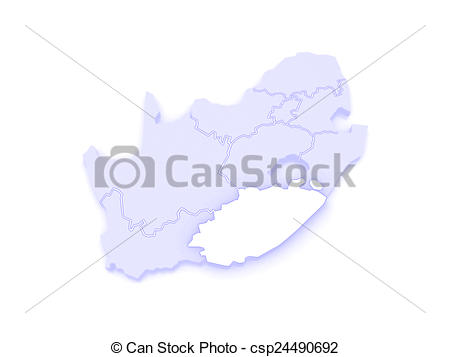 Stock Illustration of Map of Eastern Cape (Bisho). South Africa.