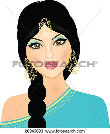 Clipart of Vector illustration of eastern girl k8943693.