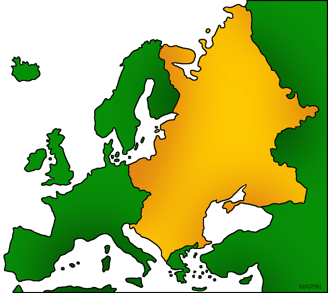 Free Europe Clip Art by Phillip Martin, Eastern Europe Map.
