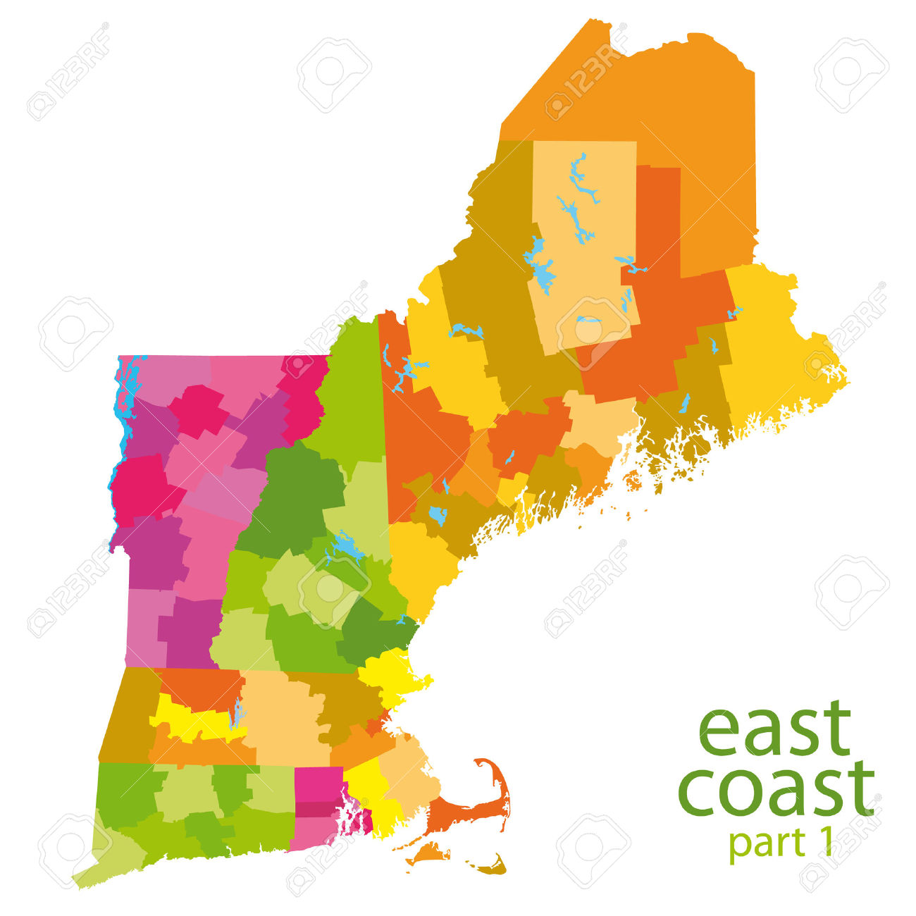 Usa East Coast Map.