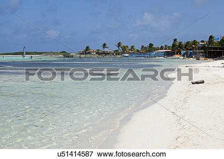 Picture of Bonaire, East Coast, Lac Bay. The beach at Lac Bay is a.