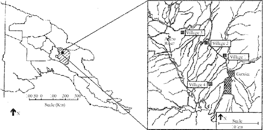 Study area within the Eastern Highlands Province of Papua New Guinea.
