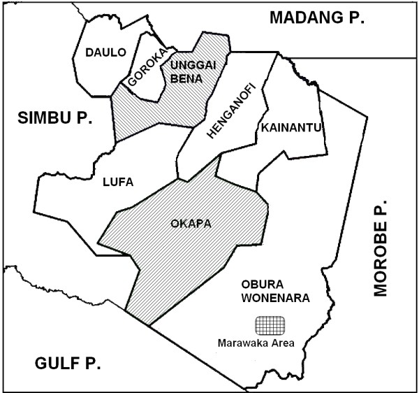 Map of Eastern Highlands Province of Papua New Guinea showing Local.