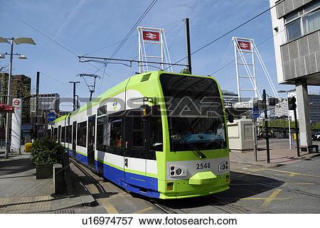 Picture of England, Surrey, Croydon, A tram on Croydon Tramlink.