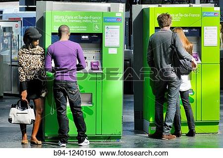Stock Photography of Ticket vending machine. East railway station.