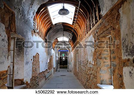 Stock Photo of Eastern State Penitentiary Corridor k5062292.