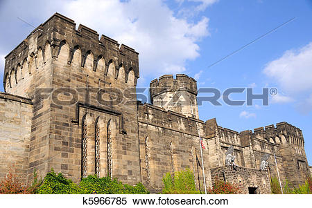 Stock Image of Outer Walls of Historic Eastern State Penitentiary.