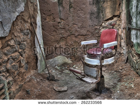 Antique Barber Chair In A Cell In Eastern State Penitentiary In.