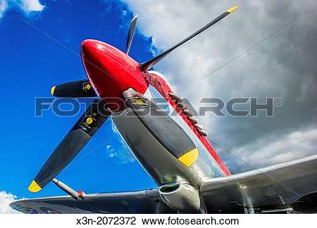 Stock Photo of Spitfire Airplane showing bright, dramatic colors.