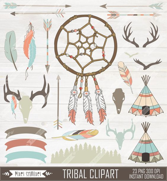 Tribal Clipart Digital Dream Catcher Native Clip by PixelShmixel.
