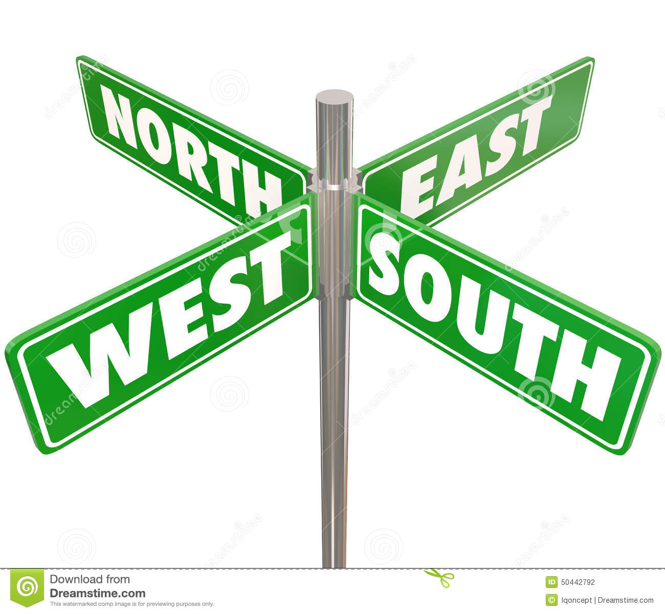 North South East West 4 Way Green Road Signs Intersection Stock.