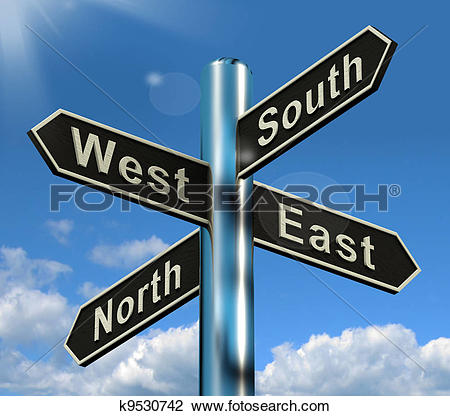 Clip Art of North East South West Signpost Shows Travel Or.