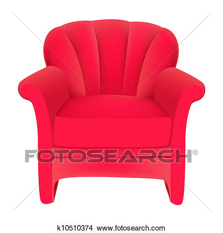 red velvet easy chair on white background Clipart.