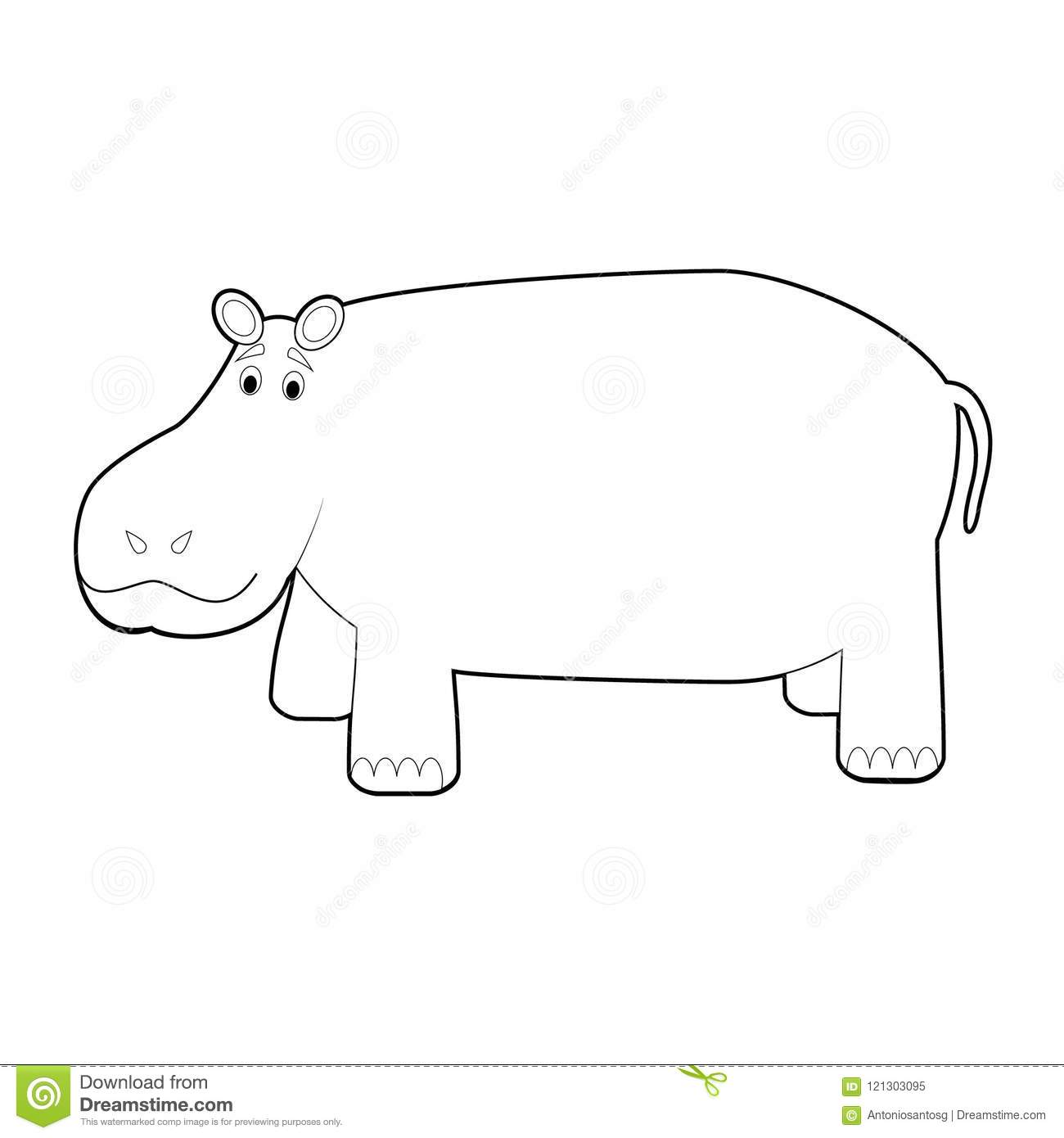 Easy Coloring Animals For Kids: Hippo Stock Vector.