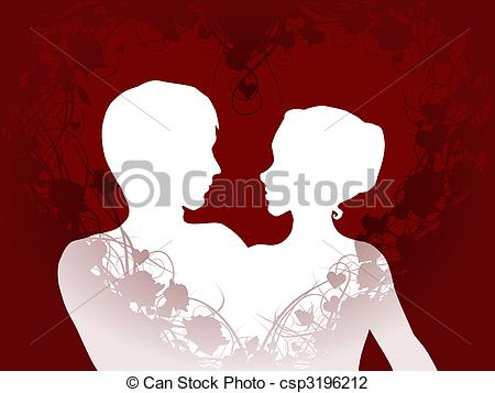 Vector Illustration of Lovers silhouette.