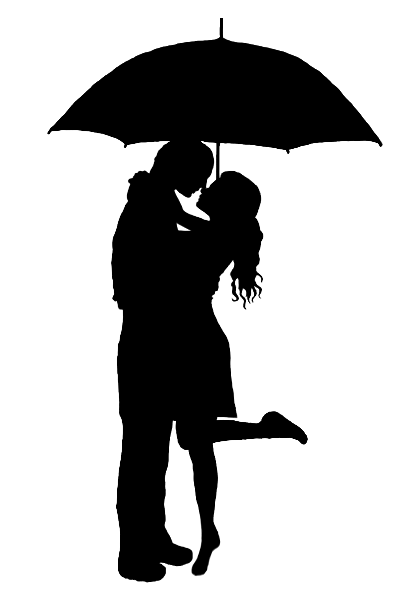 Pix For > Silhouette Kissing Under Umbrella.
