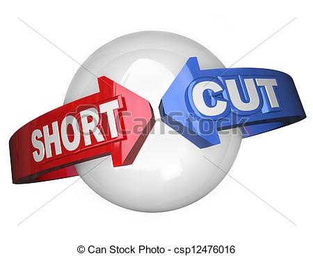 Clipart of Short Cut Words Around Sphere Shortcut Easy Route.
