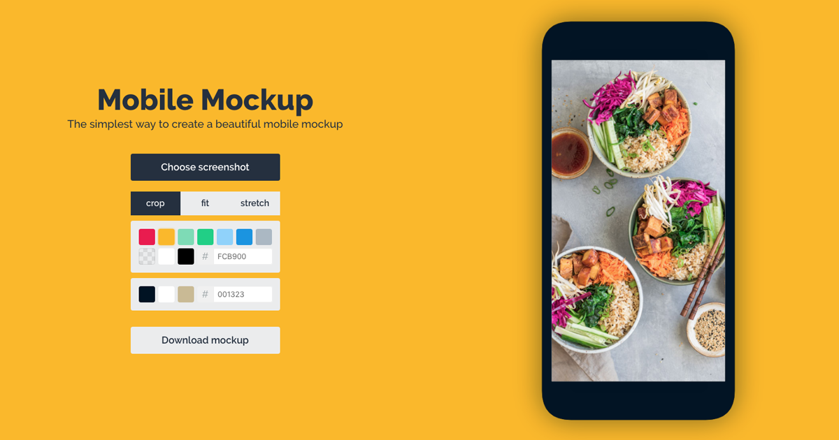 Beautiful mobile screenshots with the Mobile Mockup Maker.