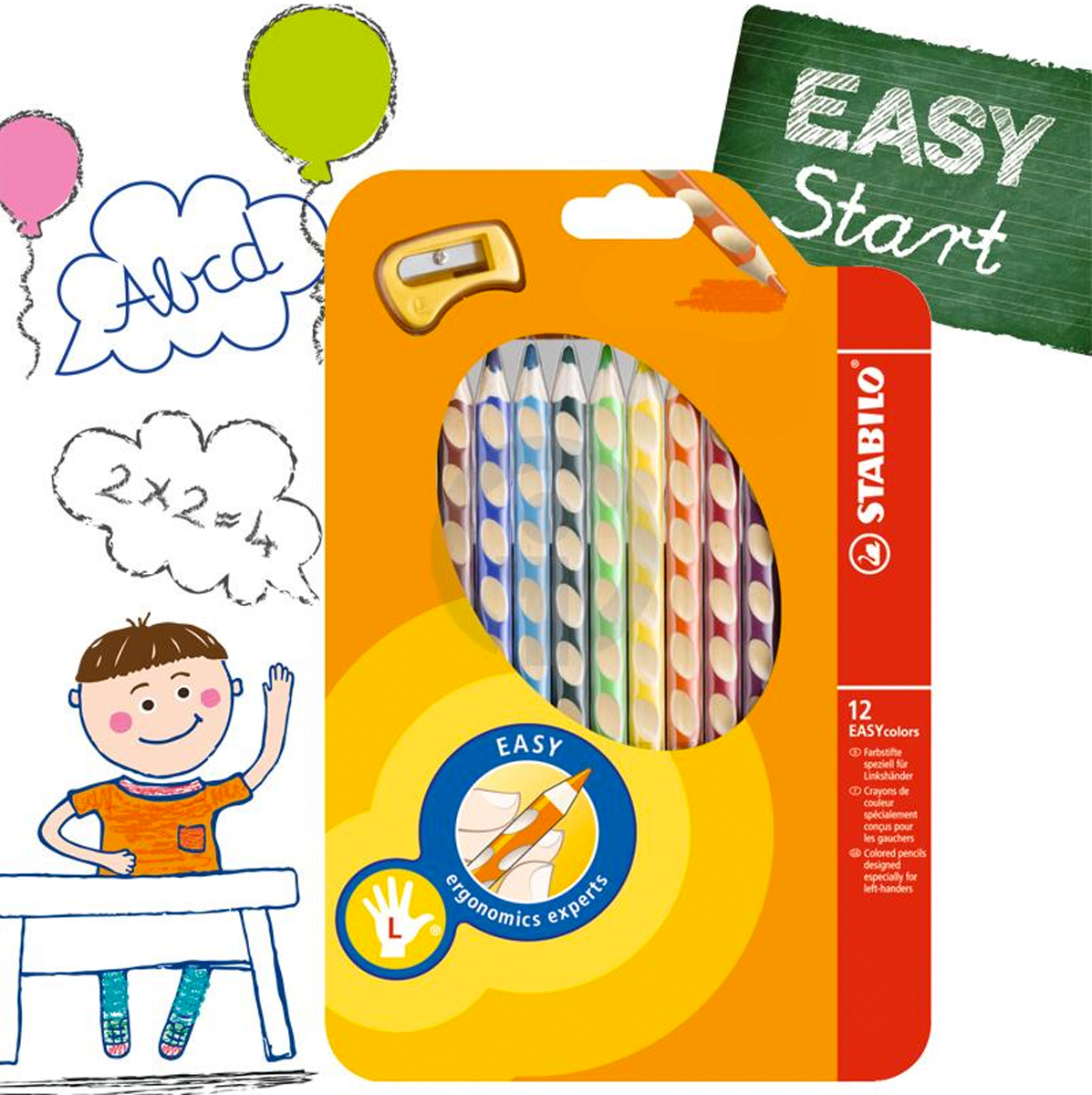 Stabilo EASY Ergo 3.15mm HB Start pencil. Left or Right Handed.
