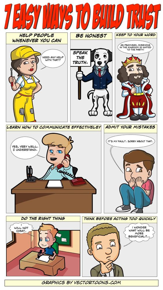 7 Easy Ways To Build Trust #comic #cartoon #article #clipart.