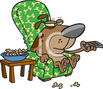 Royalty Free Clip Art Image: Dog Relaxing Watching TV in His Easy.