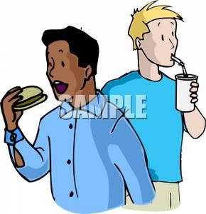 Man Eating a Hamburger and His Friend Drinking a Soda.