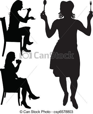 Vectors of woman eat and drink vector csp6578803.